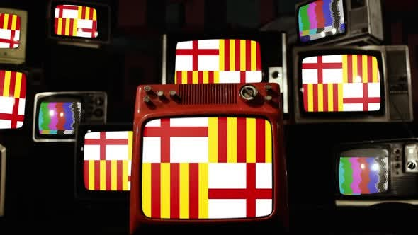 Thumbnail for Flag of the city of Barcelona and Retro TVs.
