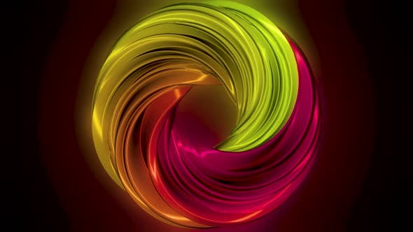 Cycle of multicolored wavy lines