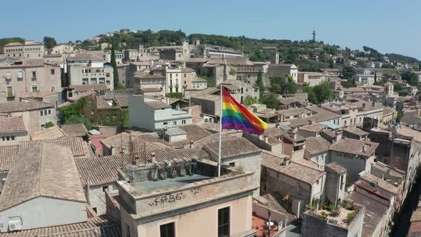 Thumbnail for Aerial View of Lgbt Flag on Building of Girona