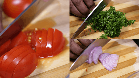 Thumbnail for Chopping Tomatos Onions and Parsley