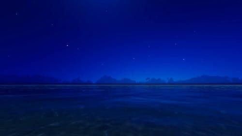 Night Blue Ocean 3D Render