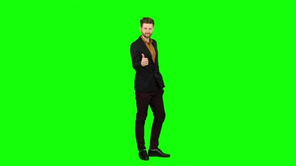 Thumbnail for Male Businessman Showing Thumbs Up, He Likes Everything. Green Screen