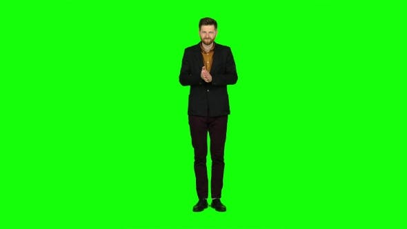 Thumbnail for Young Guy Is Happy with His Victories, He Is Happy. Green Screen
