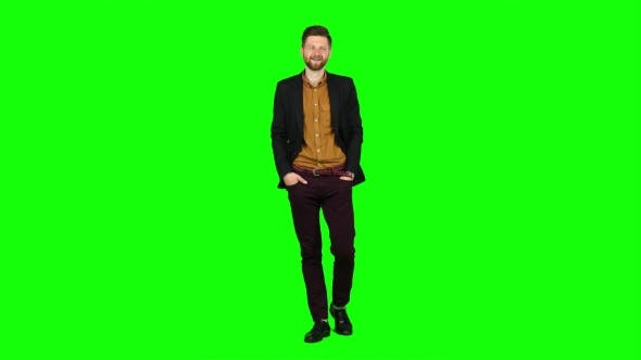 Thumbnail for Man Flirts, He Smiles and Builds His Eyes. Green Screen