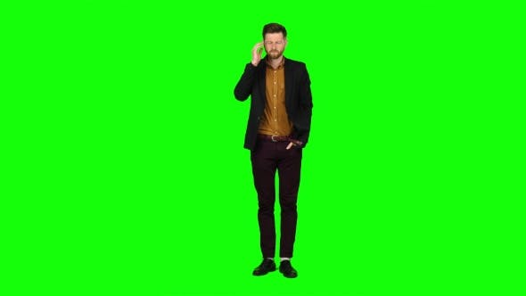 Thumbnail for Man Is Suffering, His Head Hurts, He Is Tired. Green Screen