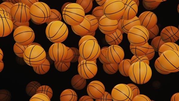 Thumbnail for Endless Rain of Basketballs on a Dark Background
