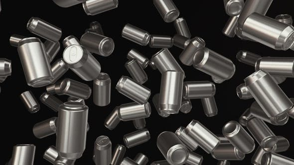 Thumbnail for Floating Aluminum Cans on a Dark Background