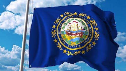 Waving Flag of New Hampshire