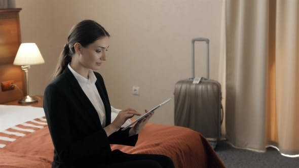 Thumbnail for Business, Technology, Internet and Hotel Concept - Happy Young Businesswoman with Tablet Pc Computer