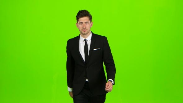 Thumbnail for Man Goes To Work, Understands That He Is Late and Begins To Run. Green Screen