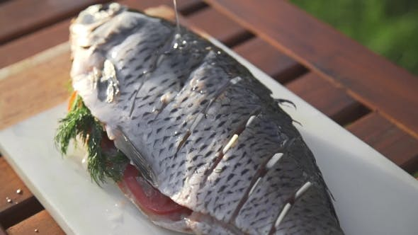 Thumbnail for Raw Carp Is Prinkling with Olive Oil for Being Grilled, Preparations for the Barbecue, Cooking Fish