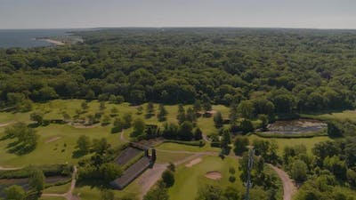 Aerial of Glen Cove Golf Club and Beach Shores in Long Island