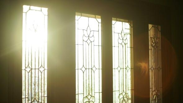 Time Laps Morning Sun Shining Through Glass Door