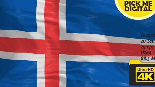 Cover Image for Iceland Flag 4K