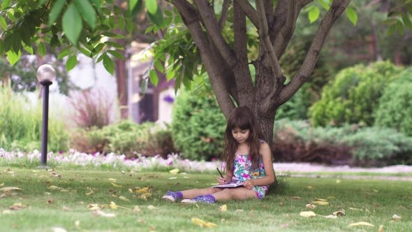 Thumbnail for Kid Paint Sitting on the Grass Under a Tree. Little Girl Draw with Crayons in the Back Yard