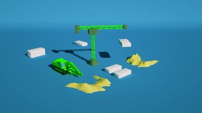 3D Animation Tower Crane and Excavator Work on the Construction Site