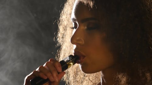 Smoking E-Cigarette Vape, Girl Vaping