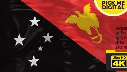 Thumbnail for Papua New Guinea Flag 4K
