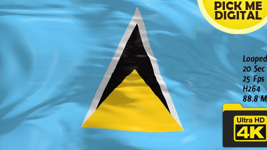 Cover Image for Saint Lucia Flag 4K