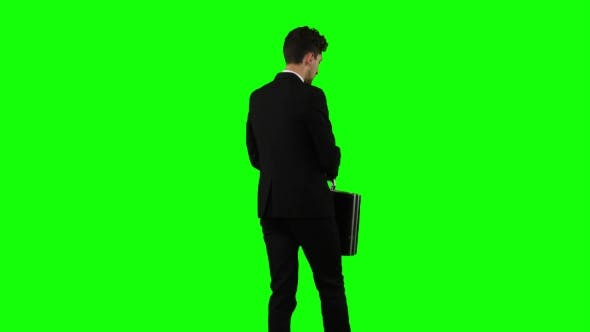 Thumbnail for Man Goes To Work, with a Diplomat He Waves His Hand To Others. Green Screen