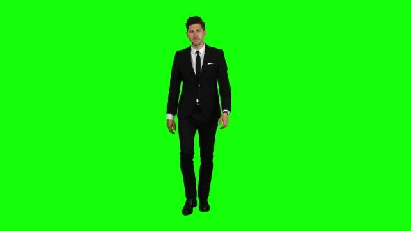 Thumbnail for Businessman Is in a Hurry To Work, He Starts To Run. Green Screen