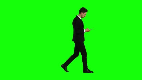 Thumbnail for Man Is Going To Work and Prints Important Messages. Green Screen