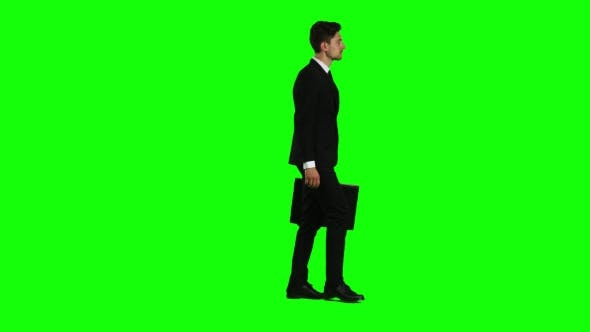 Thumbnail for Man Is Going To a Negotiation, He Has a Diplomat in His Hands. Green Screen