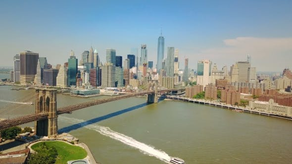 Thumbnail for Aerial Drone View of New York Financial District of Manhattan, Brooklyn Bridge