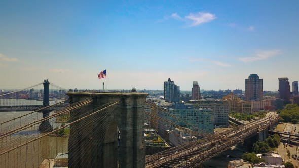 Thumbnail for Aerial Drone View of New York Brooklyn Bridge and the Hudson River,  View a Flag