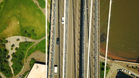 Aerial Drone View of New York Manhattan Bridge Upper Roadway, Rush Hour