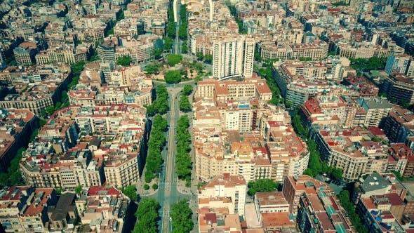 Thumbnail for Drone Flying Above Famous Barcelona Blocks Pattern Spain