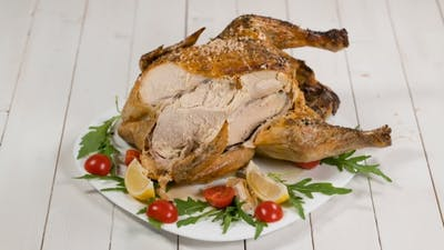 Eating Delicious Roast Chicken On Thanksgiving
