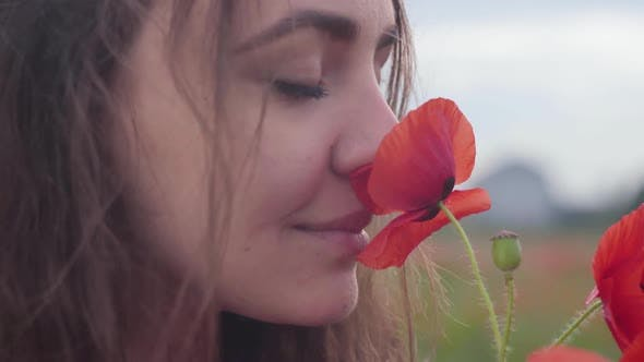 Thumbnail for Portrait of Cute Young Woman Smelling Red Poppy Flower Standing in a Poppy Field