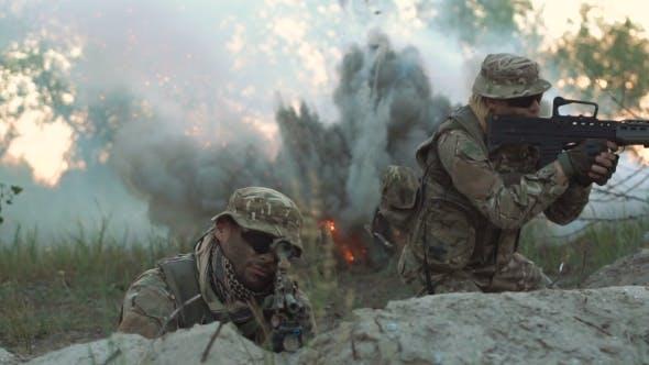 Thumbnail for Men Sniping on Battlefield