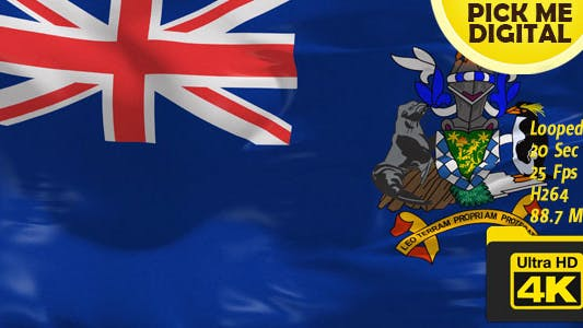 Cover Image for UK-South Georgia and the South Sandwich Islands Flag 4K