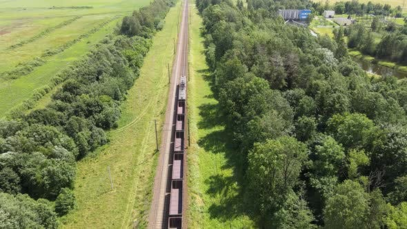 Thumbnail for Cargo Train on the Rails. Following The Freight Train, Aerial