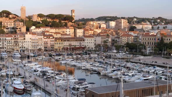 Thumbnail for Sunrise in the Port of Cannes With Yachts and Ships Moored in the Marina