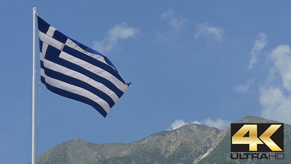 Thumbnail for Greece Flag and Mountains