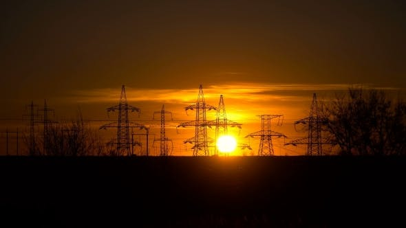 Thumbnail for High-voltage Power Lines at Sunrise