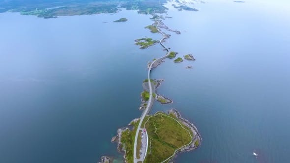 Thumbnail for Atlantic Ocean Road Aerial Footage Norway