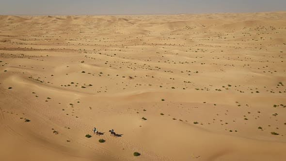 Thumbnail for Aerial view of people riding horses in the desert of Al Khatim in Abu Dhabi.