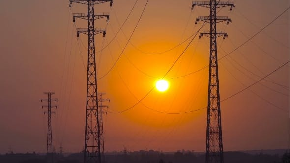 Thumbnail for Sunrise on a Background of a High-voltage Line