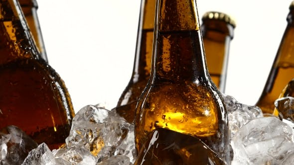 Thumbnail for Dark Bottles of Beer Are in a Container with Ice Pieces. White Background.
