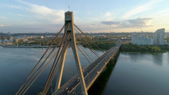 Thumbnail for Aerial Drone Footage. Movkovsky Bridge at Sunset