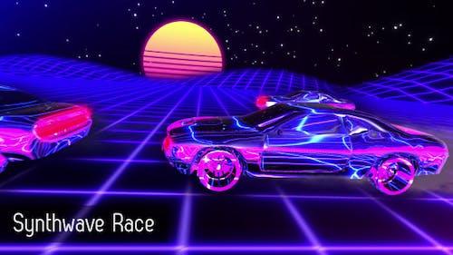 Synthwave Race Retrofuturistic Background