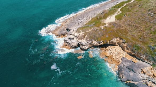 Thumbnail for Aerial View Seashore with Waves