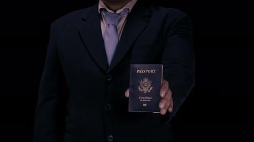 Business Man Presents Passport