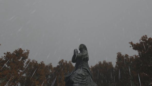 Thumbnail for Praying Angel Statue and Rain