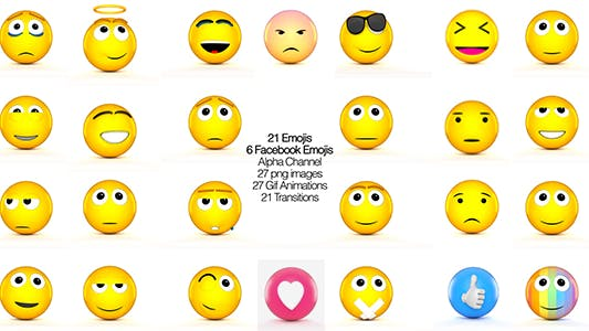 Thumbnail for Facebook Emojis And 3D Animated set of Emojis