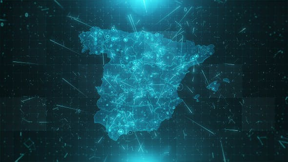 Thumbnail for Spain Map Background Cities Connections 4K